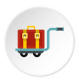 suitcase on a cart icon circle vector image vector image