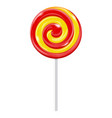 swirl lollipop red yellow sugar candy vector image