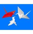 three Japanese paper cranes vector image