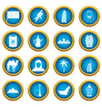uae travel icons blue circle set vector image vector image