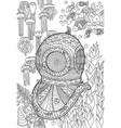 underwater antique divers helmet and sea bottom vector image