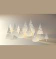 white paper tents and tree with glowing light vector image vector image