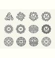wonderful set style art nouveau round elegant vector image vector image