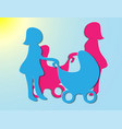young mother walking with a newborn that is in vector image vector image