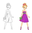 Coloring Book Of Heart Girl vector image