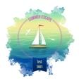 Yacht Sea Landscape Watercolor vector image