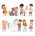 toddler cartoon kids characters petting little pet vector image