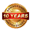 10 years anniversary golden label with ribbon vector image vector image