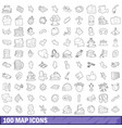100 map icons set outline style vector image vector image