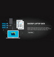 backup laptop data banner internet with icons in vector image vector image