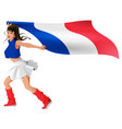 beautiful young woman in sport uniform holds flag vector image vector image