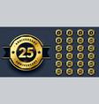big anniversary labels set in golden color vector image vector image