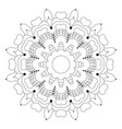black and white circular flower mandala vector image vector image