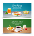breakfast realistic banners set vector image vector image