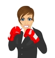 businesswoman ready to fight with boxing gloves vector image