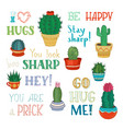 cacti and hand-written lettering vector image vector image