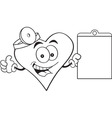 Cartoon heart holding a clip board vector image vector image