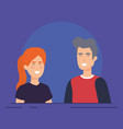 couple avatar characters icons vector image vector image