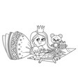 cute cartoon princess draws with colored pencils vector image vector image
