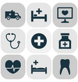 drug icons set with pulse medical sign vector image vector image