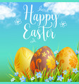 easter eggs and blue spring flowers vector image vector image