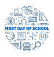 First day school round outline blue