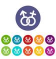 gender symbol icons set flat vector image vector image