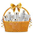 Gift Basket with Cosmetic Packaging vector image vector image