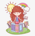 girl read books with rainbow and sun vector image vector image