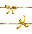 golden bow with ribbon vector image vector image