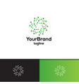 green dot circle logo template vector image vector image