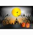 halloween night background with pumpkin haunted vector image