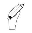 hand holding pencil with eraser icon image vector image
