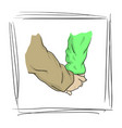 hand in hand lover in frame vector image vector image
