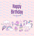 happy birthday holiday card with stars flags vector image vector image