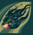 head jaguar with flame tattoo vector image vector image
