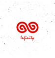 infinity vintage logo eternity red vector image