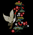 japanese white cranes with red flowers vector image vector image