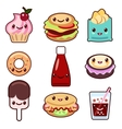 Kawaii fast food and fruit vector image vector image