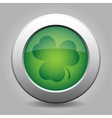 metal button with the dark green shamrock vector image