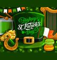 patrick day green leprechaun hat shamrock gold vector image vector image