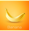 realistic banana on yellow background vector image