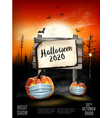 scary holiday halloween background with pumpkins vector image