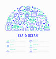 sea and ocean journey concept in half circle vector image vector image