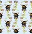 seamless pattern with bumblebees on flowers vector image vector image