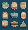 set nine topographic map travel emblems vector image