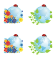 set of globes with ladybird vector image vector image