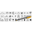 sightseeings egypt doodle set vector image vector image