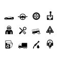Silhouette car services and transportation icons vector image