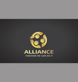 three people gold alliance concept of vip vector image vector image